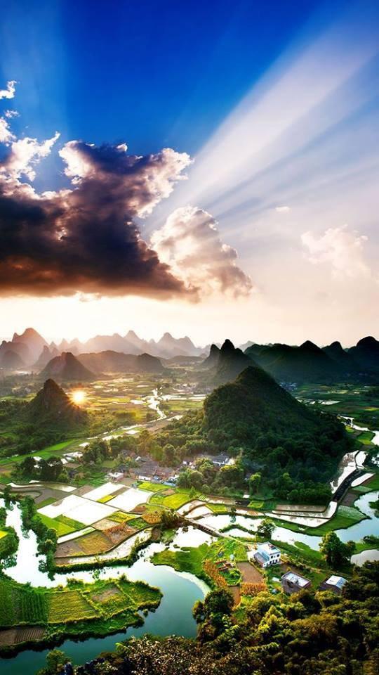 Village de Xian de yangshuo,dans la province de guangxi en Chine....