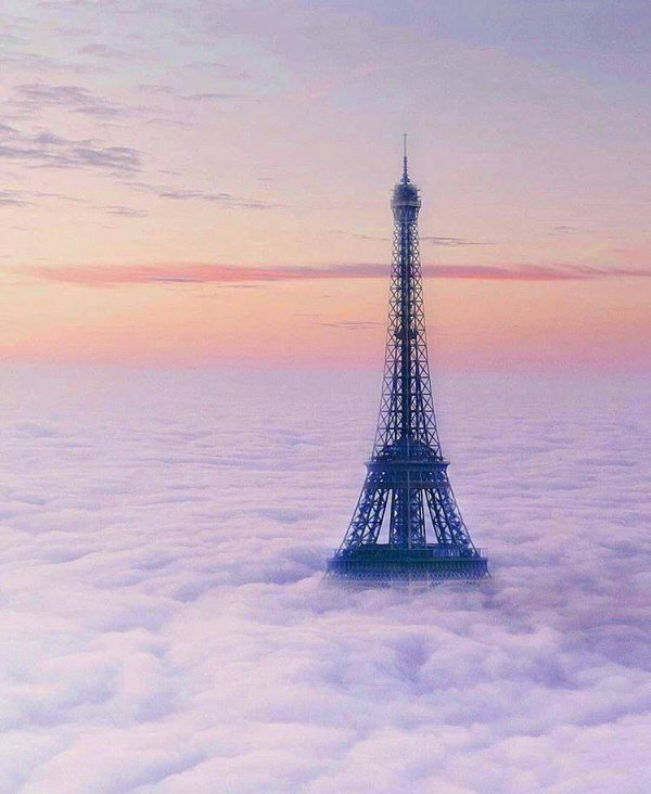Paris un matin d'hiver au lever du jour submerger par les nuages. Hormis la plus célèbre des tours..... Irréélle.......