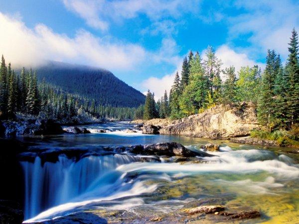 La rivière Elbow et les chutes Kananaskis en Alberta, Canada....