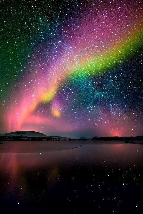 Aurores boréales en Islande.....