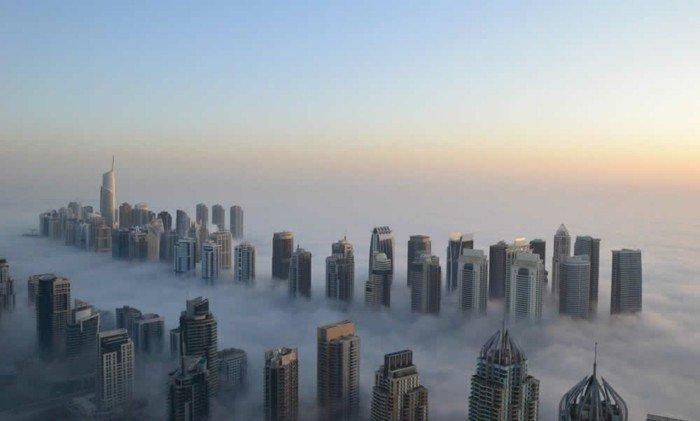 Manhattan plongée dans le brouillard....