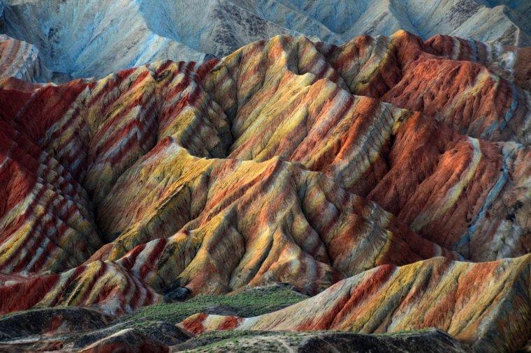 Les montagnes arc-en-ciel Zhangye Danxia, Chine....