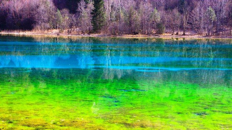 Le lac des cinq fleurs, la vallée de Jiuzhaigou, Chine....