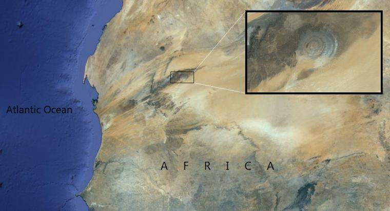 la Structure de Richat, aussi nommée, l'Oeil de l'Afrique.....