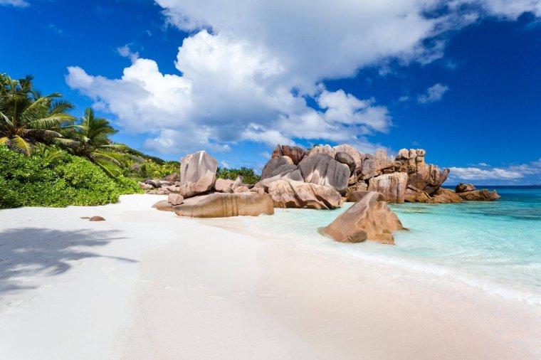 La digue, île des Seychelles, la plage....