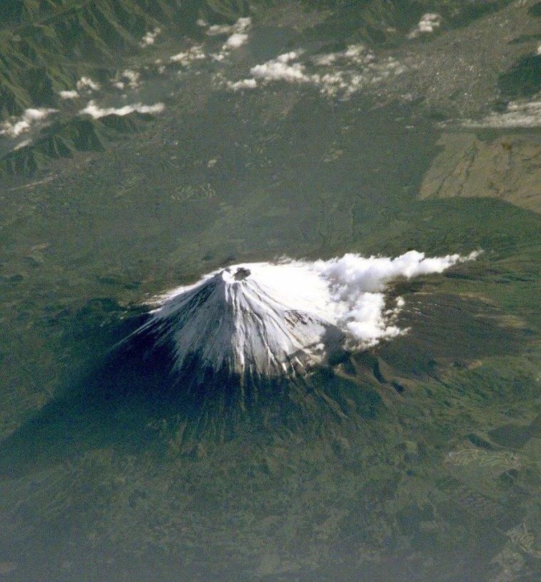 Le mont Fuji, vu depuis la Station spatiale internationale....