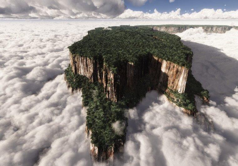 Mont Roraima, est situé sur la triple frontière entre le Brésil, le Venezuela et la Guyane...