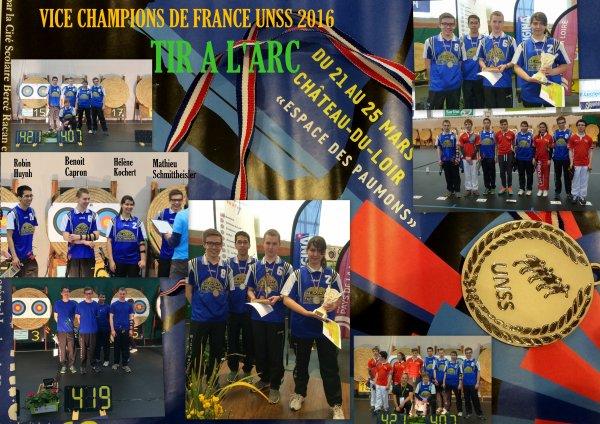 UNSS..ILS SONT VICE CHAMPIONS DE FRANCE 23-25 mars 2016