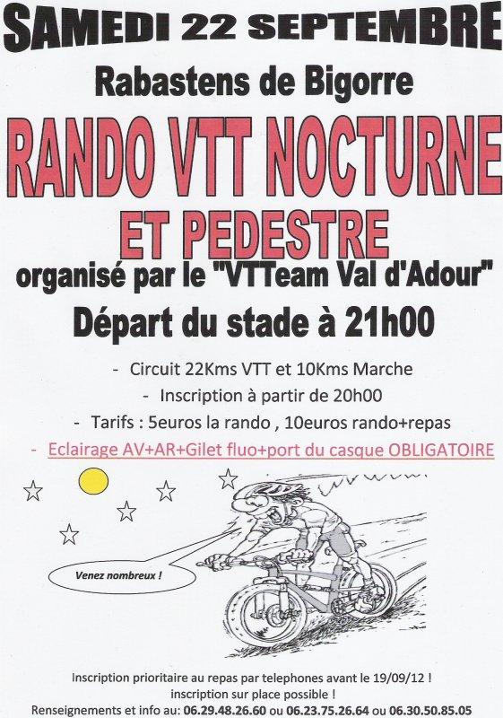 RANDO VTT et PEDESTRE NOCTURNE ANNULÉE