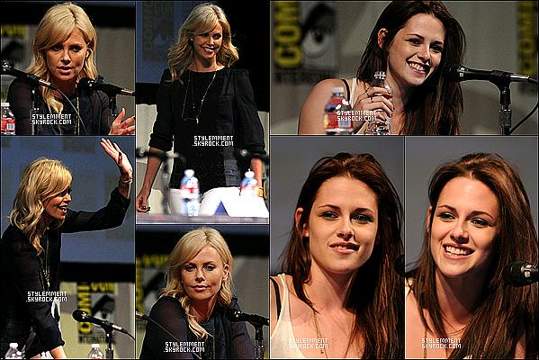 23/07/11 | Kristen Stewart et Charlize Theron étaient au Comic-Con à San Diego. Accompagné de la totalité du cast, elles ont fait la promotion de Blanche-Neige et le Chasseur + photoshoot de l'event.