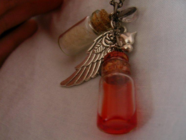 Collier fiole de sang + fiole de pissenlit soufflé