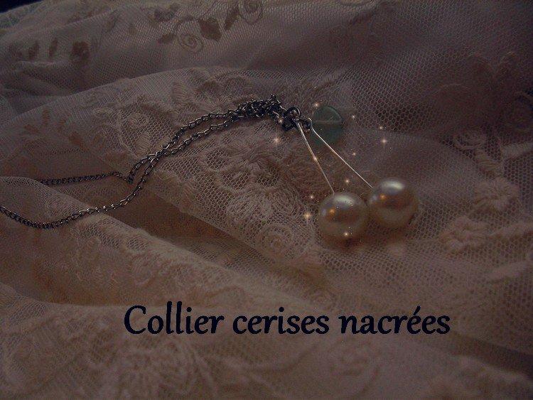 Collier cerises nacrées perles