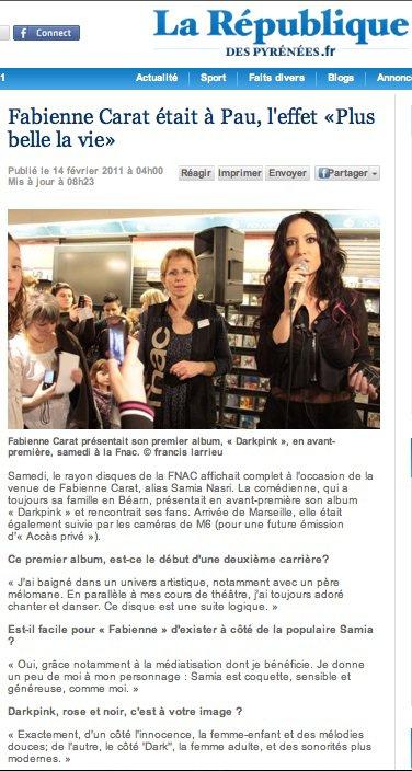 Article La République 14 février 2011... La BOUTIQUE disponible à la FNAC de Pau !!!