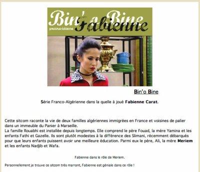 ACTUELLEMENT diffusée sur FRANCE Ô  Retrouver Fabienne Carat dans BIN'O BINE