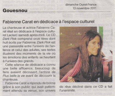 DEDICACE ALBUM Fabienne Carat au Centre Culturel LECLERC GOUESNOU (BREST)