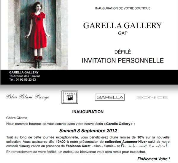 Inauguration Boutique GARELLA SAMEDI 8 Septembre à GAP !!!