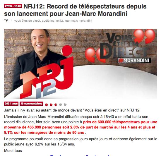 """Plateau TV """"MORANDINI vous êtes en direct"""" !!"""