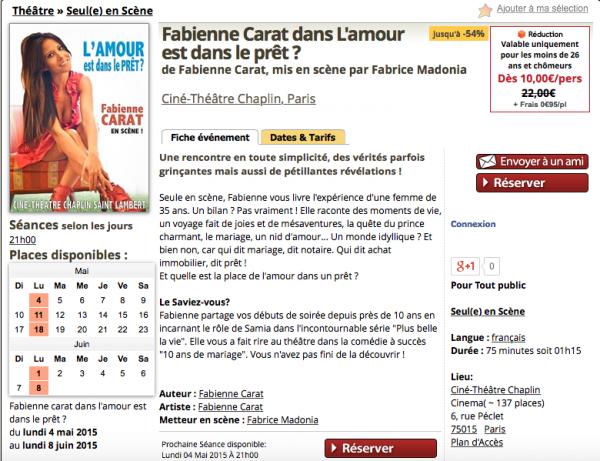 Fabienne Carat en scène au Théâtre CHAPLIN Saint-Lambert du 4 Mai au 8 Juin 2015
