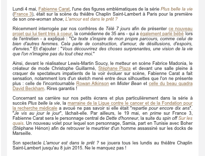 """Article PURE POEPLE """"La première de Fabienne Carat seule sur scène"""" Salle comble !!!"""