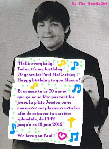 18 juin 1942 : Une étoile est née. Et aujourd'hui, elle fête ses 70 ans ♫ Bon anniversaire Paul McCartney =D