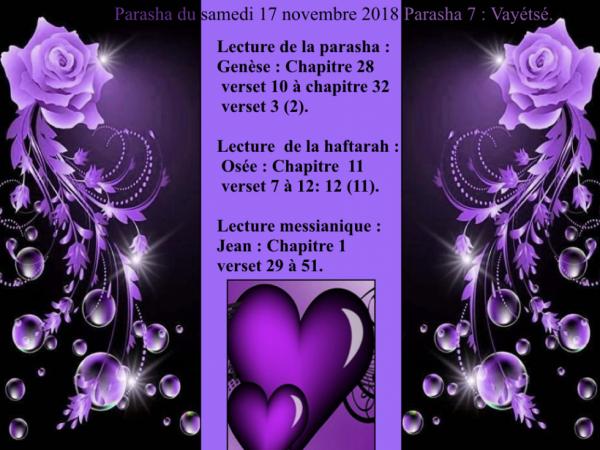 Parasha du samedi  17 novembre 2018.Parasha 7: Vayétsé.