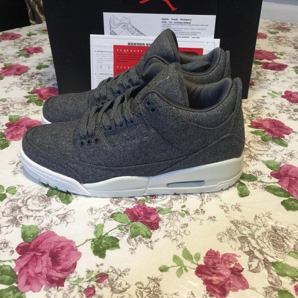 "Air Jordan 3 ""Wool"" Dark Grey/Dark Grey-Sail 854263-004"