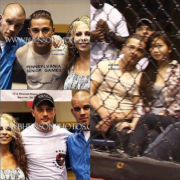 __♦ Photos fans.Shia accompagné de sa petite amie et de Tom Hardy étaient à un match?