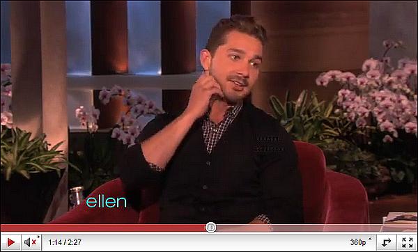 """__♦ Apparition16 Mai 2011 : Shia été au """"Ellen D. Show"""" ou il a parler de sa bagarre dans un bar."""