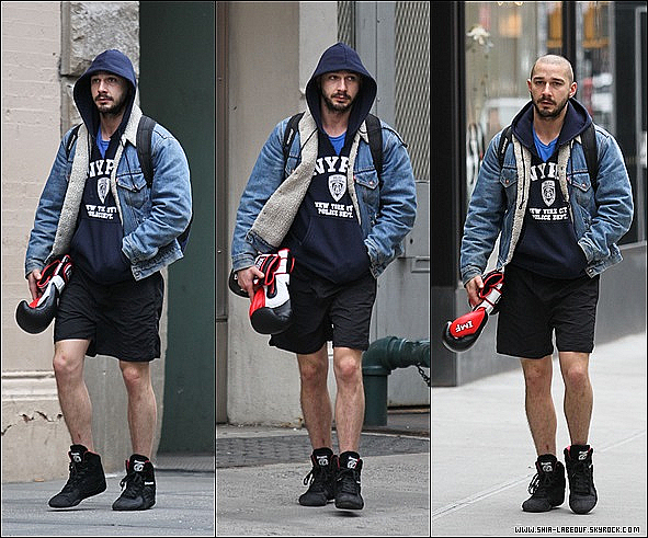 ; _ 01 Mars 2013:_ Shia Labeouf et ses gants de box ont été vu sortant de son cours de box à New York.;