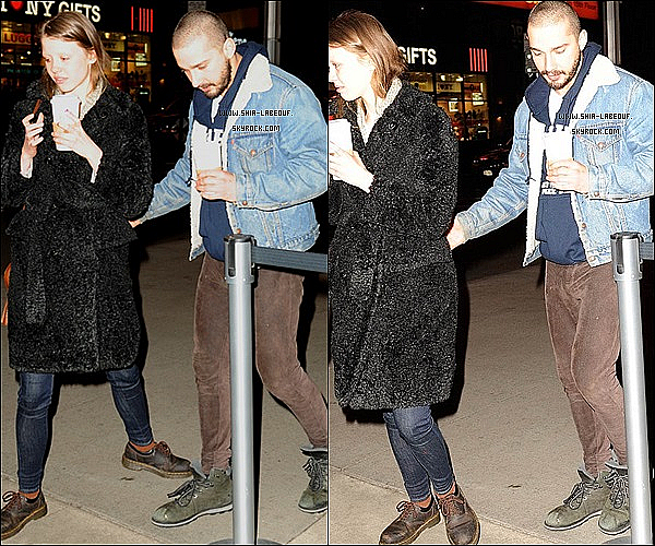 ; _ 06 Mars 2013:_ Shia Labeouf et Mia Goth on était vu sortant du restaurant Olive Garden's à New York.;