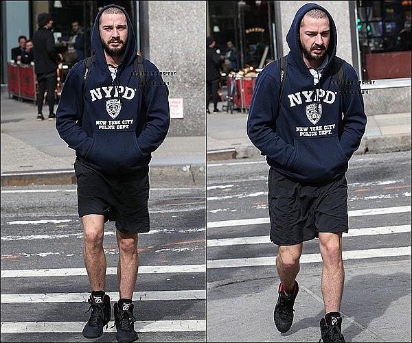 ; 11 Mars 2013:_ Shia Labeouf et son nouveau pull préférer ce promenant dans les rues New York. ;