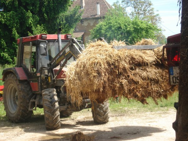 le case est entrin de charger et le new holland épand