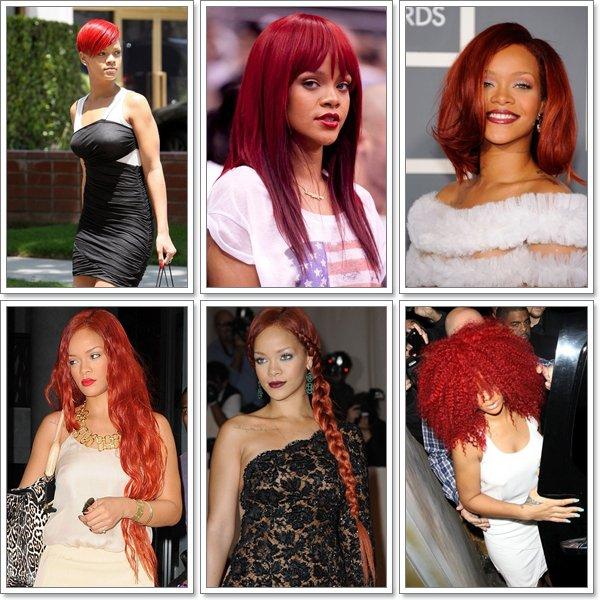 Rihanna semble en avoir fini avec les cheveux rouge.... Voici un petit récapitulatif de toutes ses coupes !!