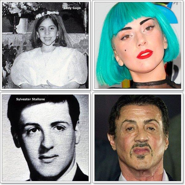 *  Angelina Jolie n'à pratiquement pas changer  * Rihanna a toujours le même nez mais pas les même cheveux.... * Lady Gaga est méconnaissable  * Sylvester Stallone (Alias Rocky Balboa) à bien changer...