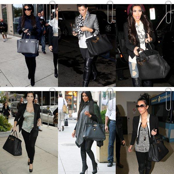 Kim Kardashian ne quitte pas ses sacs Hermes Jaune, Noir et Beige Lequel des ces 3 sacs préfère-tu ?