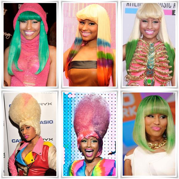 Nicki Minaj et quelques unes de ses extravagantes perruques Laquelle préférez-vous??