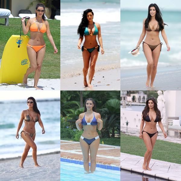 Vous savez que j'aime Kim Kardashian donc voici un récapitulatif de tous ces maillot de bain. Lequel aimez-vous??