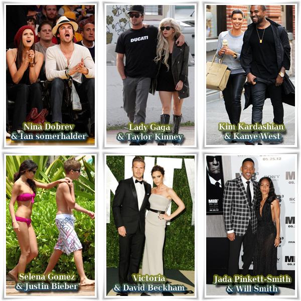 Voici 6 couples de stars. Lequel est le plus beau ou le plus mignon?A vous de choisir !