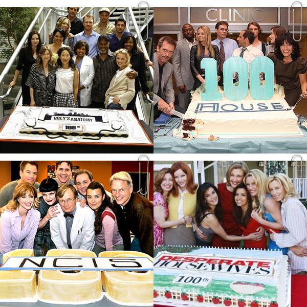 Aux Etats-Unis, Lorsqu'une série arrive au 100 ème épisode tourné, toute l'équipe se réunit autour d'un gigantesque gâteau. Ainsi les séries Grey's Anatomy, Dr House, NCIS, Desperate Housewives, Ghost Whisperer et Charmed, ont tournées plus de 100 épisodes !!