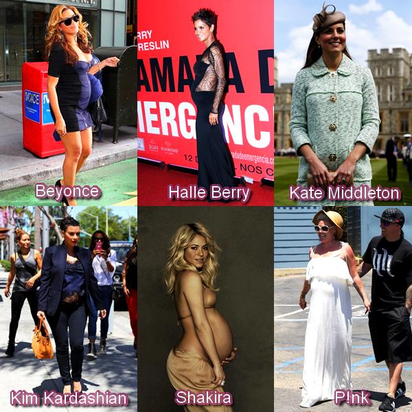 Beyonce, Halle Berry,Kate Middleton, Kim Kardashian, Shakira, P!nk.... Toutes ces femmes ont étaient enceintes et on est tous d'accord pour dire que la maternité leur va à ravir ! Mais qui préférez-vous ?