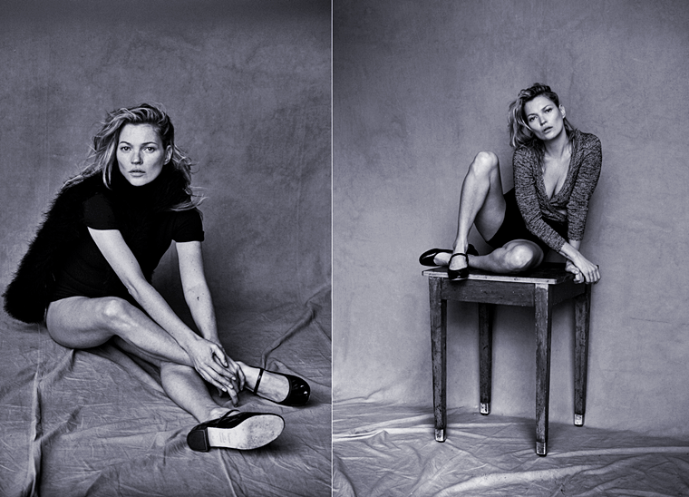 Kate Moss for Vogue Italia, January 2015, photographed by Peter Lindbergh