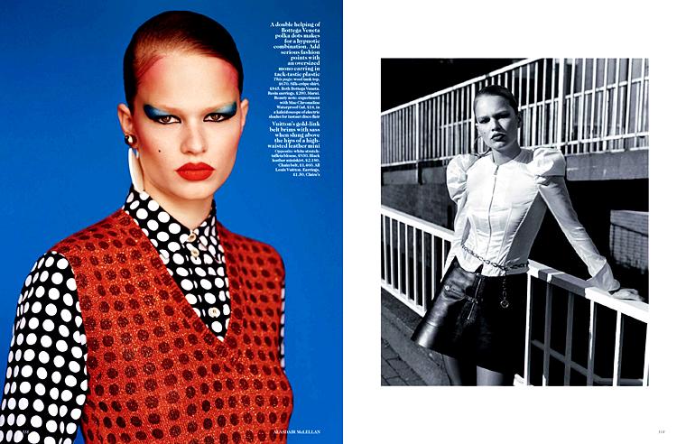 Anna Ewers for Vogue UK, September 2015, photographed by Alasdair McLellan