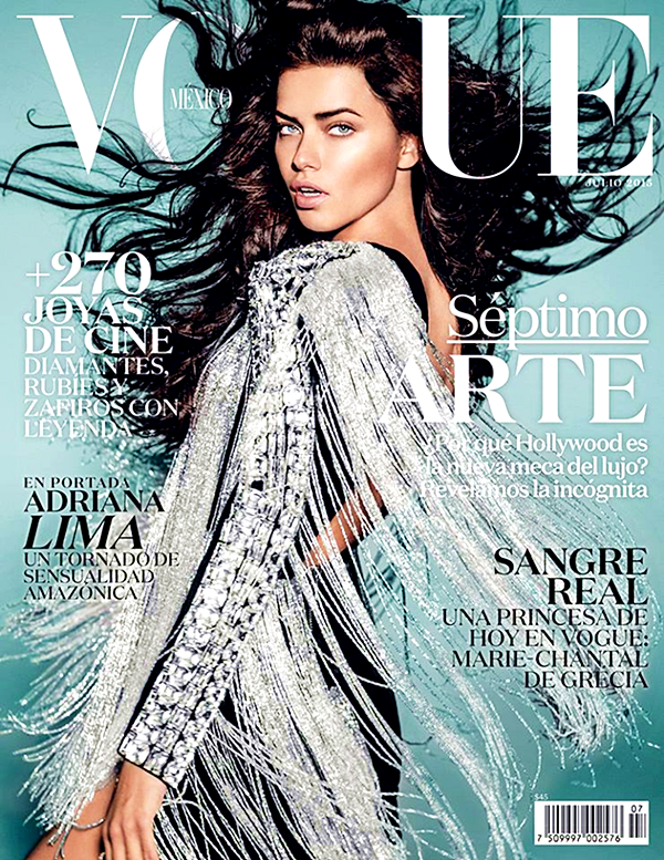Adriana Lima for Vogue Mexico, July 2015, photographed by Russell James
