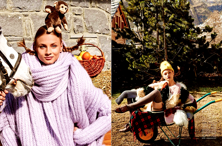 "Anna Selezneva for Vogue Japan, ""Joy of Pippi Longstocking"", September 2015, photographed by Giampaolo Sgura"