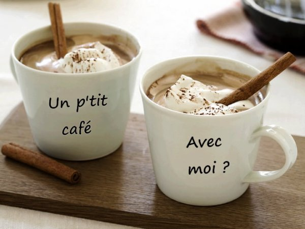 un petit cafe pour commencer la journee bisouille tout plein
