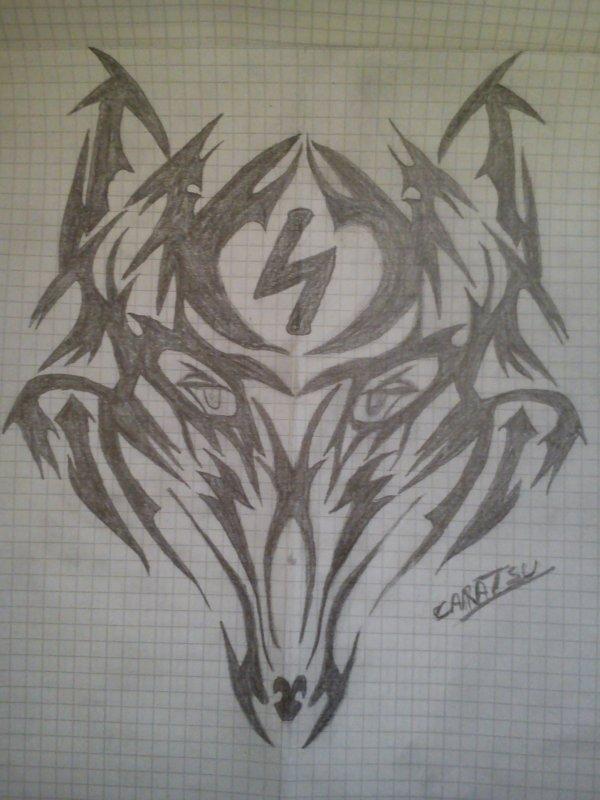 Tête de loup tatouage