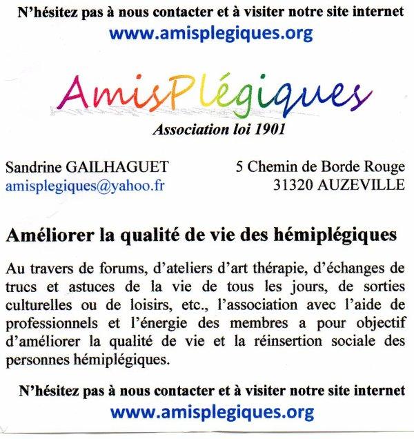 """20 octobre création du blog""""amisplégiques"""""""
