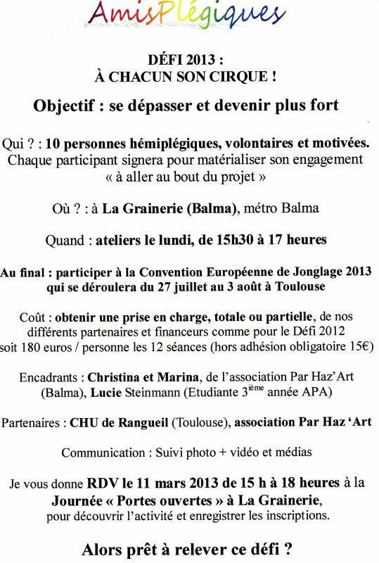Lundi 11 mars 2013 nouveau défi 2013