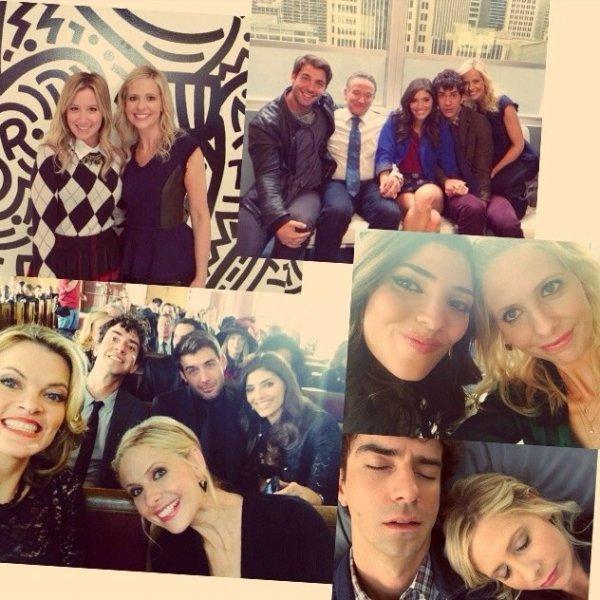 Sarah avec les acteurs de the Crazy ones