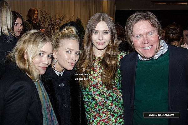 13 février : Les filles en compagnie de Lizzy et de leur père, au défilé de leur marque, Elizabeth and James.